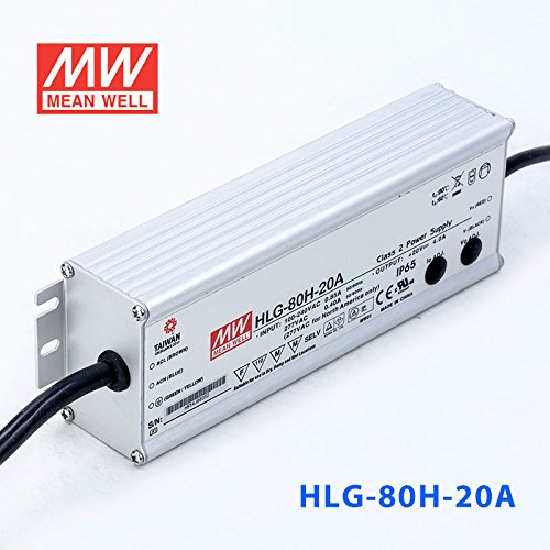 Meanwell HLG-80H-20A Power Supply - 80W 20V 4A - IP65 - Adjustable Output