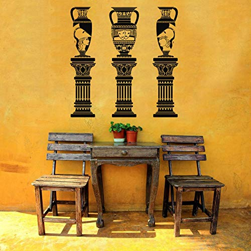 (Vinyl Sticker Urn On Columns Greek Vase Jar Jug Amphora Vine Emblem Ornament Architecture Mural Decal Wall Art Decor SA2274)