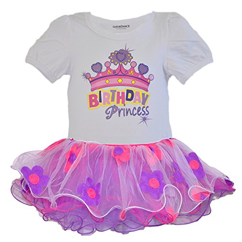 Disney Costume For 1 Year Old (Birthday Princess Puff Sleeve Tee & Embroider Flower Tulle Tutu 2 PCs Dress Set (Age 1, Fuchsia))