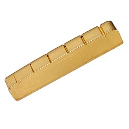 Sharplace Cejilla Cejuela Ranurada para Guitarra Eléctrica de 6 Cuerdas - Latón, Color Oro,