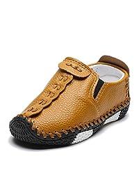ENERCAKE Toddler Boys Girls Loafer Shoes Soft Synthetic Leather Slip On Moccasin Kids Flat Boat Dress Shoes(Toddler/Little Kid)(9.5 Toddler, C-Brown)