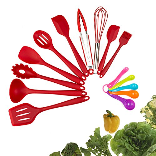 Silicone Kitchen Utensil Set, Evantek 10 Piece Kitchen Tool Set, Cooking Utensils Set, Non-Stick Heat Resistant for Baking BBQ with Solid Core (red)