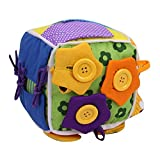 Per Baby Learn To Dress Cube Learning Toys Early Education Basic Life Skills Teaching Toys For Toddlers With Lace+Button+Zip+Snap+BuckleChildren's Plush Travel Activity (One Size, B)