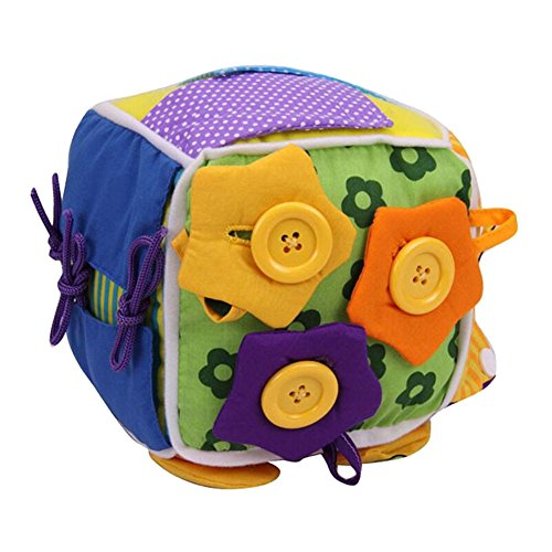 Per Baby Learn To Dress Cube Learning Toys Early Education Basic Life Skills Teaching Toys For Toddlers With Lace+Button+Zip+Snap+BuckleChildren's Plush Travel Activity (One Size, B) by Per