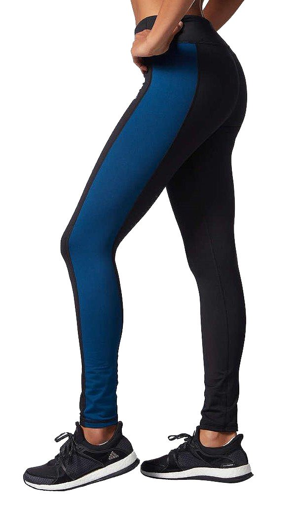 adidas Womens Ultimate Fleece Climawarm Running Tights, Black/Blue, Small