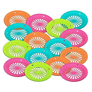 1 Dozen of Reusable Plastic Holders for 9  Paper Plates Bright Colors, By Tzipco