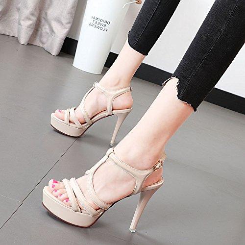 Xue Qiqi Schuhe mit hohen Absätzen mit wasserdichten Taiwan weiblich feine Nacht tau-Toe Sandalen video dünne Mädchen Schuhe 35 Beige