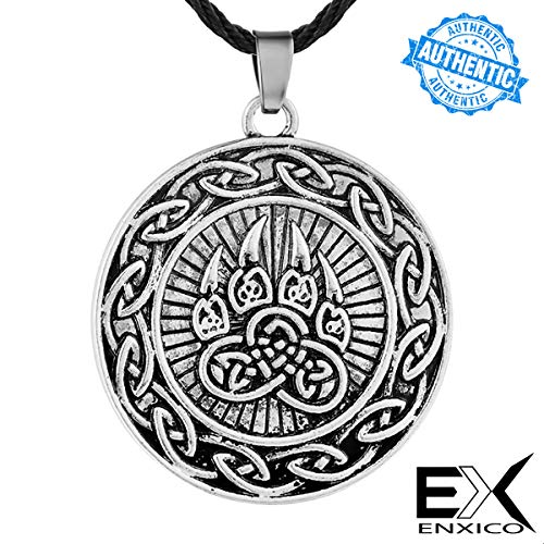 ENXICO Bear Paw Pendant Necklace with Celtic Knot Circle Surrounding ♦ Silver Color ♦ Irish Celtic Jewelry
