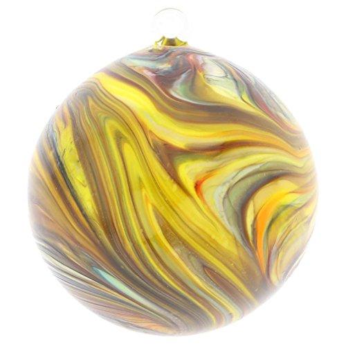GlassOfVenice Murano Glass Chalcedony Christmas Ornament - Yellow Swirl -