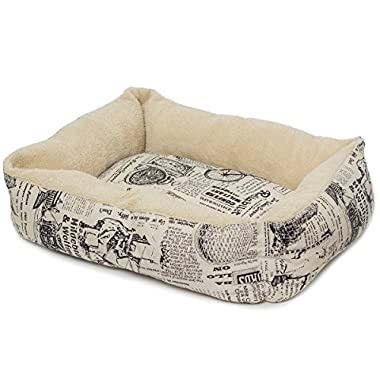 OxGord Pet Bed for Cat and Dog Crate Pad - Deluxe Premium Bedding with Cozy Inner Cushion- 2016 Newly Designed Model - 1800's Newspaper Design