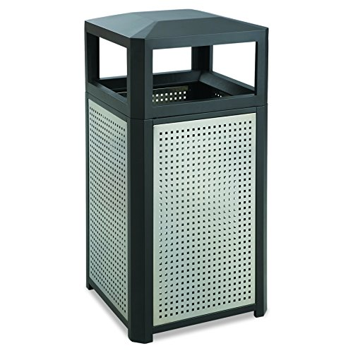 - Safco Products Evos Outdoor/Indoor Steel Trash Can 9934BL, Black, Perforated Galvanized Steel Panels, 38 Gallon Capacity