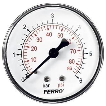 """6bar 60mm presión 86psi aceite medidor de aire o agua de 1/4 """""""