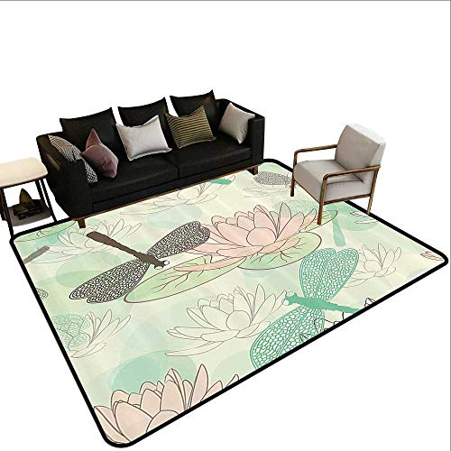 Indoor/Outdoor Rug Country Decor Collection Floating Water Lily and Dragonfly Figures on The Lake in Mild Soft Color Designed Print Rustic Home Decor5'10 x7'10 Pink Green