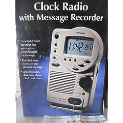 Sharper Image Clock Radio with Message Recorder Oi521