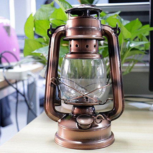 XENO-Bronze Outdoor Retro Iron Candlestick Kerosene Alcohol Lantern Hurricane Lamp
