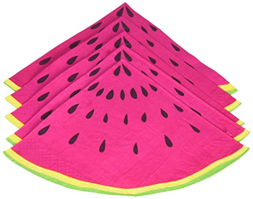 Ginger Ray SF-751 Summer Fruits Watermelon Slice Party Paper Napkins, Pink, 33 cm,