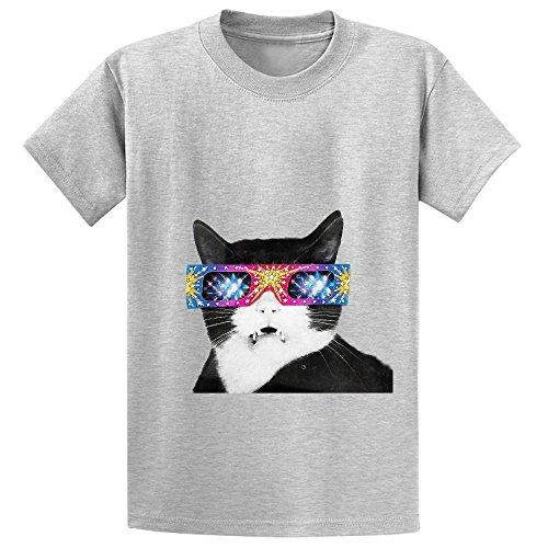 Ebook Laser Cat Youth Crew Neck Print T Shirt Grey Free
