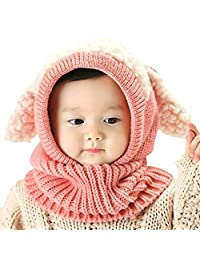 Baby Girls Boys Winter Knit Scarf Hat Warm Earflap Cap for Kids 6-36 Months