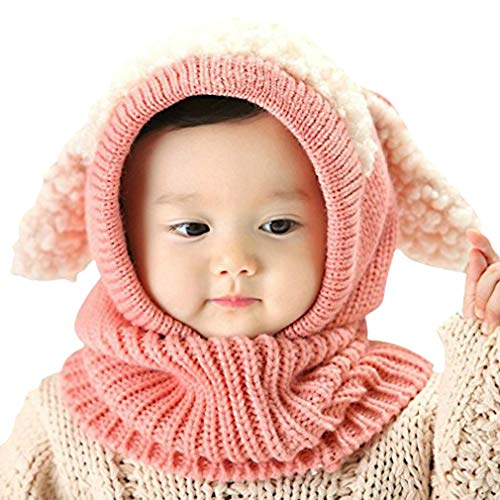 iHomey Baby Girls Boys Toddler Winter Hat Scarf Set Cutest Earflap Hood Warm Knit Hat Scarves with Ears Snow Neck Warmer Cap for Kids 6-36 Months (Pink) (Beanie Baby Dog Set)