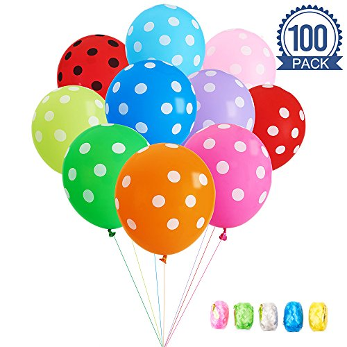 Birthday Polka Dots Party Decorations - MESHA Assorted Polka Dots Balloons 12 Inches Latex Balloons 100 Pcs with Colored Curling Ribbon for Wedding Birthday Party Festival Decoration