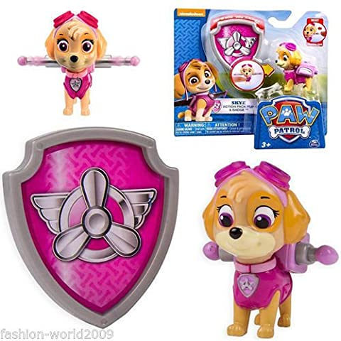 Paw Patrol Action Pack Pup & Badge Shield Dog Backpack Projectile Toy - Skye - Rc Little Rides Vehicle