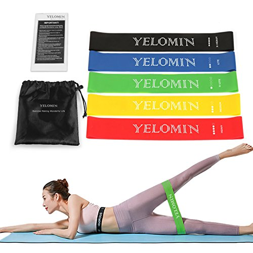Yelomin Resistance Band Exercises,Natural Latex Elastic Band Workout with Fitness Resistance Loop Exercise Bands with Carry Bag for Women/Men/Beginners