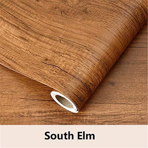 Youvcerfz Vinyl PVC Self Adhesive Wallpaper Home Decor Furniture Renovation Kitchen Cabinet Wardrobe Waterproof Wood Grain Wall Stickers South Elm 60cmX3m (Wood Elm Stove)