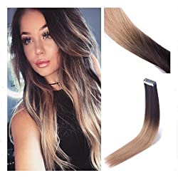 Rinboool 14 Inch 40g Balayage Tape In Remy Human Hair Extensions Ombre Dark Brown Fading To Dirty Blonde 20pcs per package (14'', 2/18)