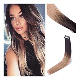 RINBOOOL Tape in Hair Extensions Human Hair Real Remy 18 Inch 40 Gram Ombre Color Dark Brown Roots to Dirty Blonde
