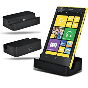 Nokia Lumia 520 Micro USB Desk Top soporte del muelle del cargador (NEGRO) Carga Por Spyrox
