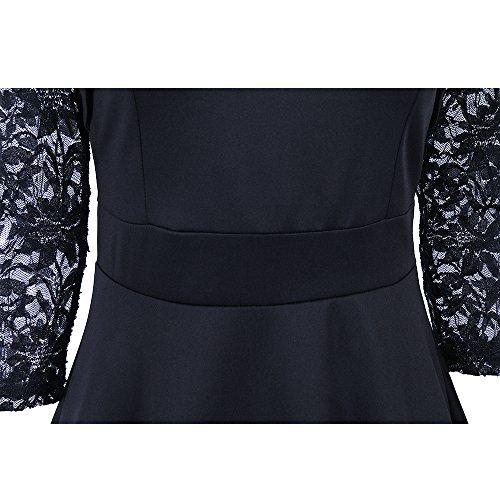 Shepretty Coctel Noche Elegantes para negro Mujeres Vestidos Mujer de Encaje rX1r7P
