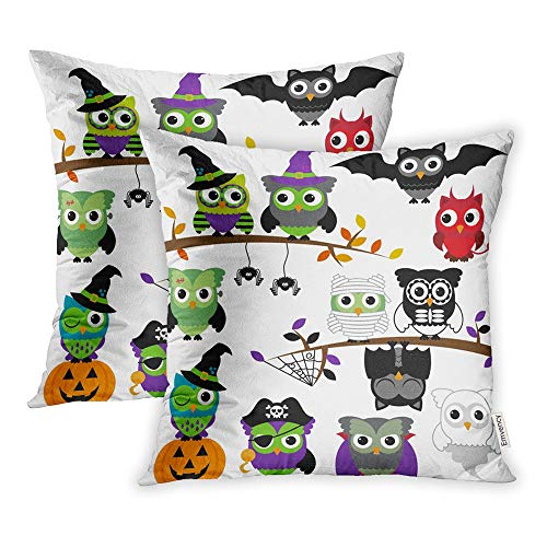 Emvency Set of 2 Throw Pillow Covers Cases Mask Collection Spooky Halloween Owls Monster Animal Zombie Fall Witch Ghost 20
