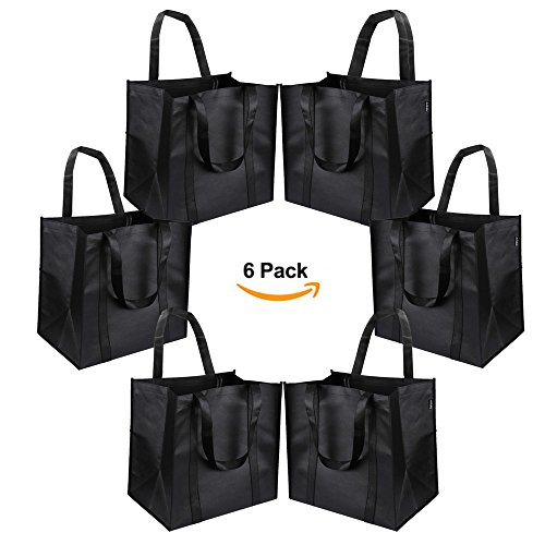 Reusable Grocery Tote Bags (6 Pack, Black) - Hold 44+ lbs - Large & Durable, Heavy Duty Shopping Totes - Grocery Bag with Reinforced Handles, Thick Plastic Support Bottom (Type 1)