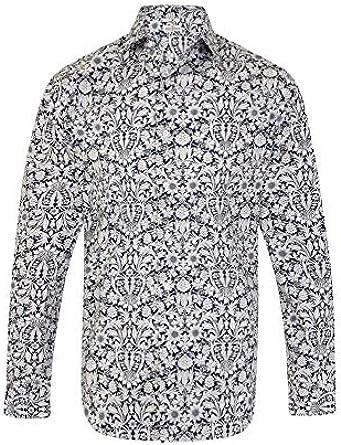 Camisa para hombre de corte clásico 100% algodón con estampado floral de cachemira, tallas SML XL 2 XL 3 XL 4 XL - Tallas de cuello 37 – 47/48 cm