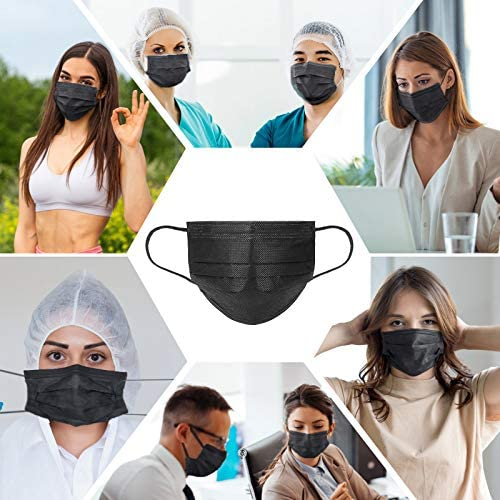 Disposable Face Mask 3-Layer Breathable Earloop Safety Masks Black 50 Pack/Box