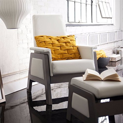 Dutailier Urban Glider with Ottoman, Stained Grey Hardwood Base and White Leatherette Seat