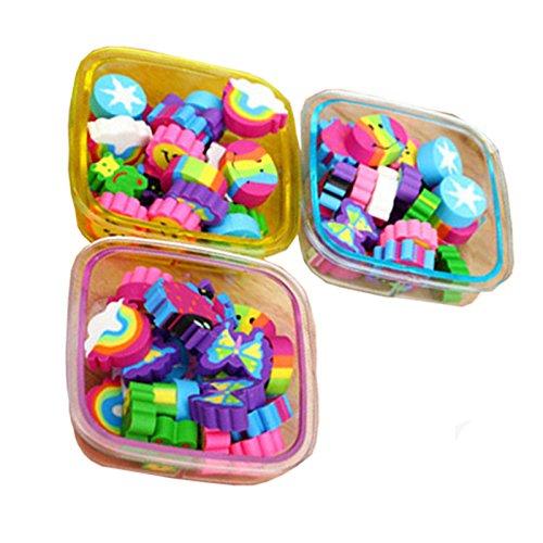 22Pcs/Box Cute Rubber Eraser Multicolor School Supplies Stationery Gift for Kids, Random Color (Square) NaroFace