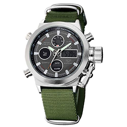 - Mens Sport Analog Digital Watches Olive Canvas Nylon Strap Military Chronograph Backlight Waterproof Wrist Watch