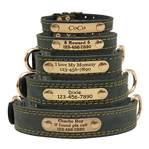 Shorven Soft Genuine Leather Custom Dog Collar with ID Tag Engraved Nameplate Grey M