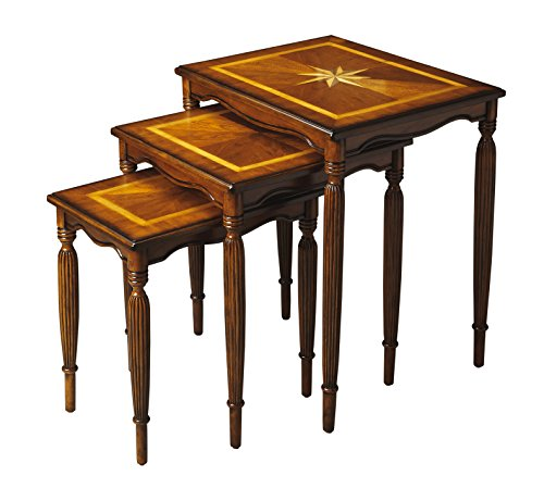 Accent Furniture - Starburst Inlaid Nesting Table Set/3 - Olive Ash Burl Finish - Nest of Tables - Nested (Marquetry Accents)