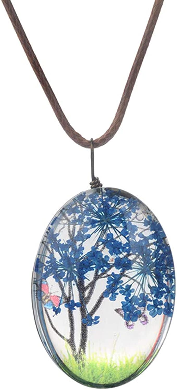 smallwoodi Exquisite Stylish Pendant,Creative Women Dry Flowers Oval Pendant Faux Leather Rope Chain Necklace for Women Jewelry Dark Blue