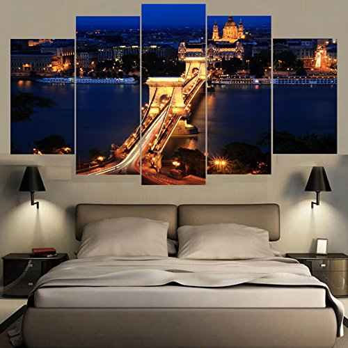 [Medium] Premium Quality Canvas Printed Wall Art Poster 5 Pieces / 5 Pannel Wall Decor London Famous Bridge Night Painting, Home Decor Pictures - With Wooden Frame (Picture Bridge London)