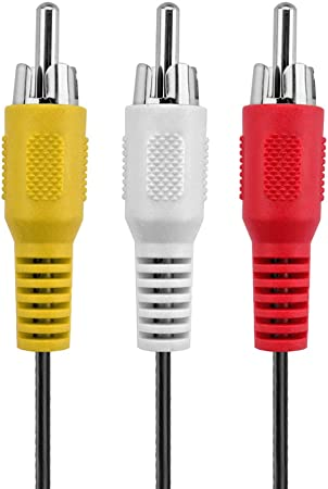 TNP Premium 3 RCA Cable 2RCA Stereo Audio M//M Male to Male Gold Plated RCA Connector Plug Jack Wire Cord - 3RCA AV RCA Composite Video 6 FT
