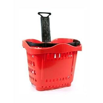 Cesta Carro Compra de plástico sobre ruedas asa telescópica LT.43 para muebles supermercati y