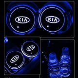 Alichee - Soporte para Taza de Coche con Logotipo de LED, 7 Colores cambiantes, con USB, 2 Unidades, KIA