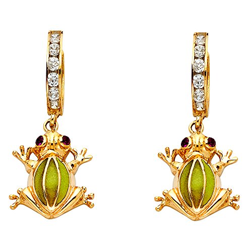 Solid 14k Yellow Gold Frog Dangle Earrings Huggies CZ Drop Style Good Luck Charm Polished Fancy 33x15 mm