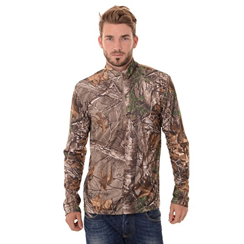 REALTREE Mens Manga Larga 1/4 Rendimiento Camisa, Realtree Xtra, Mediano