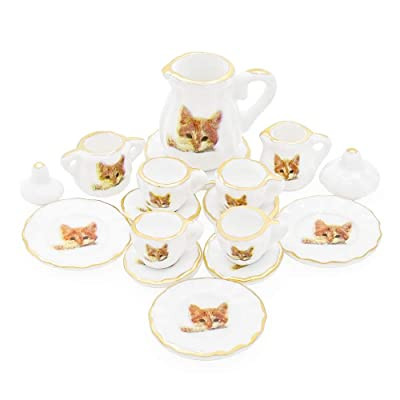 Odoria 1:12 Miniature 15PCS Porcelain Tea Cup Set Cat Pattern Dollhouse Kitchen Accessories: Toys & Games