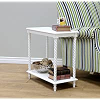 Frenchi Home Furnishing Chair Side Table/2 Tier Shelves, White
