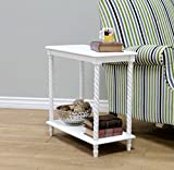 Frenchi Home Furnishing Chair Side Table/2 Tier Shelves, White For Sale